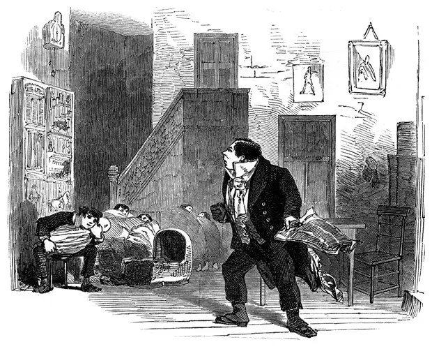 Image from the Illustrated London News, 30 December 1848 of The Haunted Man at the Adelphi Theatre.