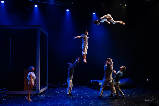 A dark blue stage scene with 4 people stood on the stage and another 2 people in the air above them. One vertical and one horizontal. They have clearly been thrown in the air by the group on the stage who are now waiting to catch them.