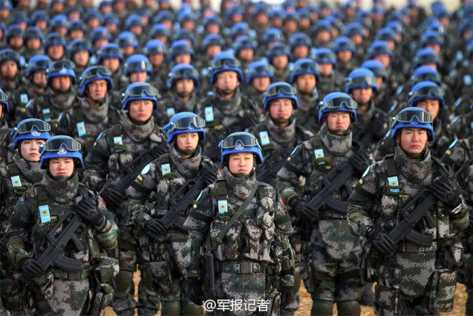 Soldiers attend the ceremony. The battalion will be deployed in Juba, the capital of South Sudan, and assume the task of protectingcivilians, UN and humanitarian staff, and will conduct patrolling and security missions. [Photo/Weibo account of PLA Daily]