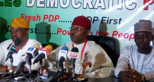 Secondus hands party flags to Ekiti PDP candidates in LG polls