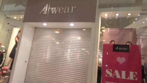 The A|Wear store in Arklow was shut in mid-trading today.