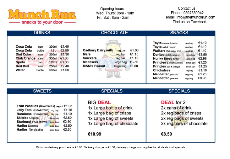 Munch Run's current menu