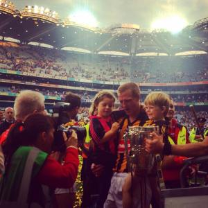 Henry Shefflin celebrates his 10th All Ireland medal with his two children