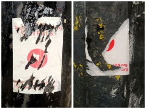 Defaced abortion stickers in Dublin. Photo credit: Sarah Fitzgerald