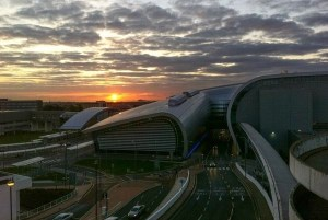 Sunset falling on Dublin Airport's Terminal 2. Photo: Philip Wall