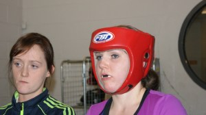 Clare focusing on a sparing session
