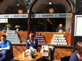Coffee in the sun. McCambridges, Shop Street, Galway. Photo by Rachael Hussey
