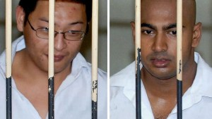Andrew Chan, left, and Myuran Sukumaran, right awaiting trial in 2006