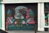 Art on the shutters of Antoinettes Bakery on Kevin Street, image by Hannah Lemass