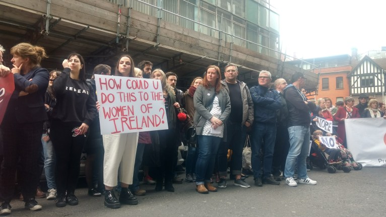Demonstrators protest at the Department of Health, image by Hannah Lemass