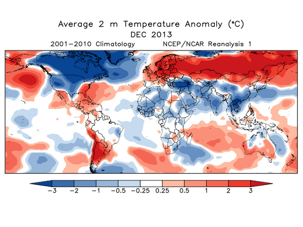 If temperature starts to become entirely anomalous, is any of it an anomaly? (December 2013 via NOAA)
