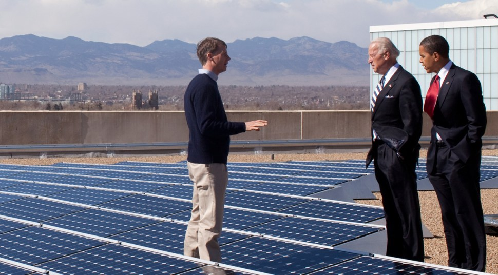 Vice President Biden and President Obama visit a solar installation in Denver, 2/09. Official White House Photo by Pete Souza