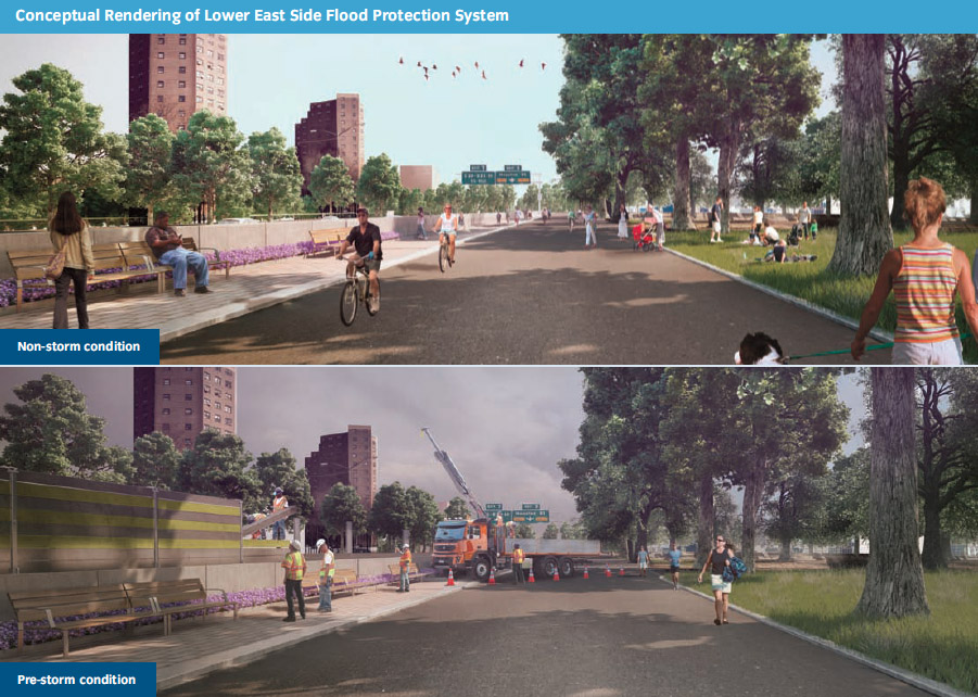 Flood barrier proposed along East River Park. (SIRR)