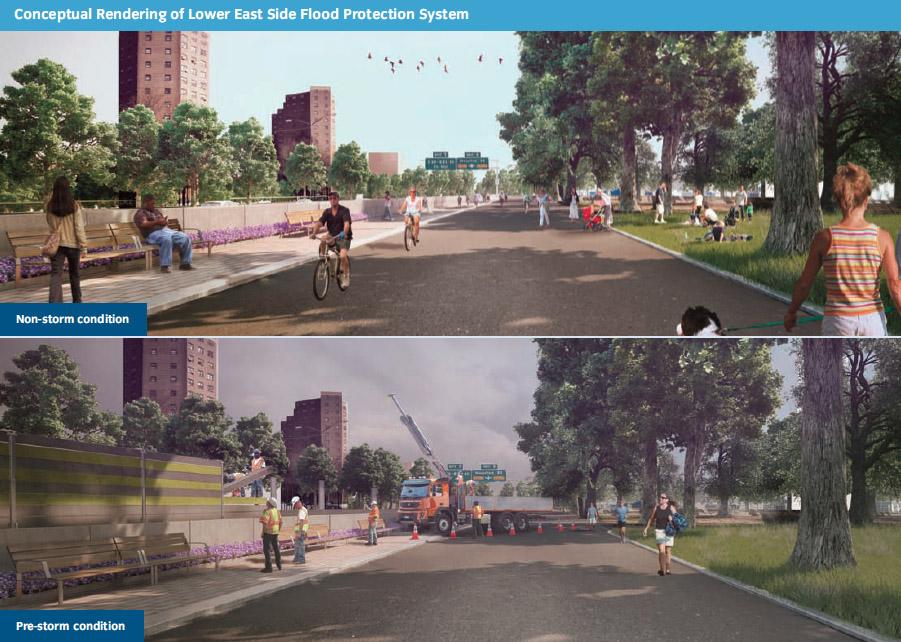 Flood barrier proposed along East River Park. (SIRR)