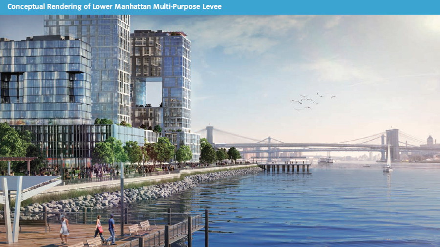 To harden the Seaport waterfront, a levee is proposed, with new development on top. (SIRR)