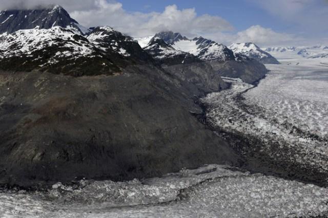 Aerial view of Columbia Glacier in Alaska.