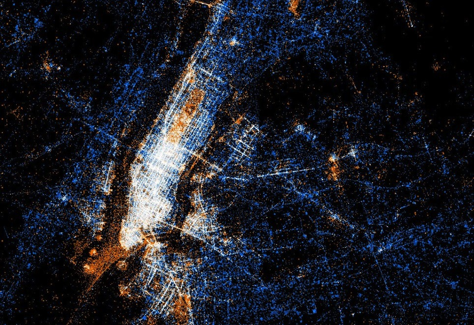 Daily Twitter and Flickr use in New York City (Image: Dailymail.co.uk)