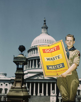 1941, Boy Scout, poster urging water saving, Anderson Grimes