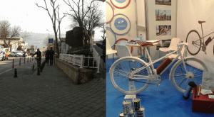 Kadıköy'de yokuş yukarı yürüyen bir bisikletli;Elektrikli araçlar sergisinden elektrik destekli bisiklet (fotoğraflar Dario Hidalgo'nun arşivinden alınmıştır)