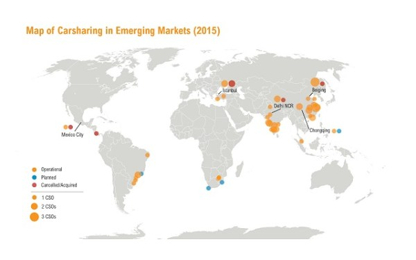 Hemen hemen tüm kıtalarda yer alan araç paylaşım sistemi işletmecisi ile araç paylaşım sistemi küresel bir olgu haline geldi. Grafik: WRI Ross Center for Sustainable Cities