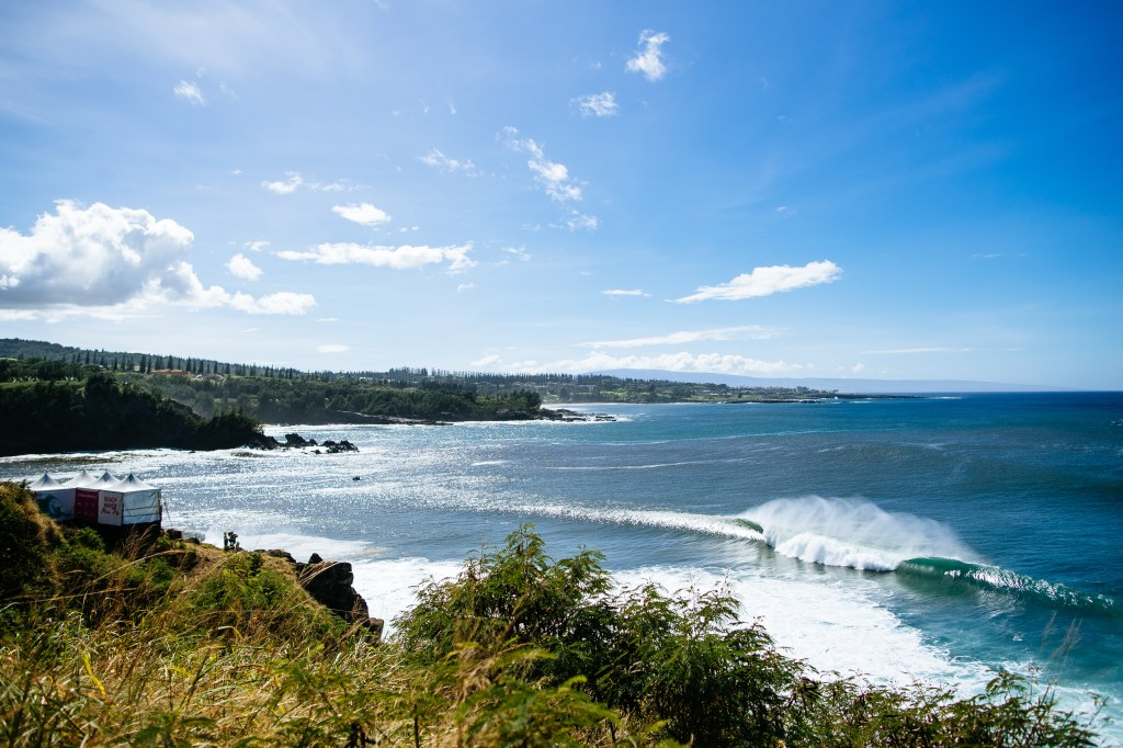 The linup during Round 2 of the Beachwaver Maui Pro, Honolua Bay, 2018.