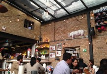 Interior of La Fama restaurant in Bogotá.