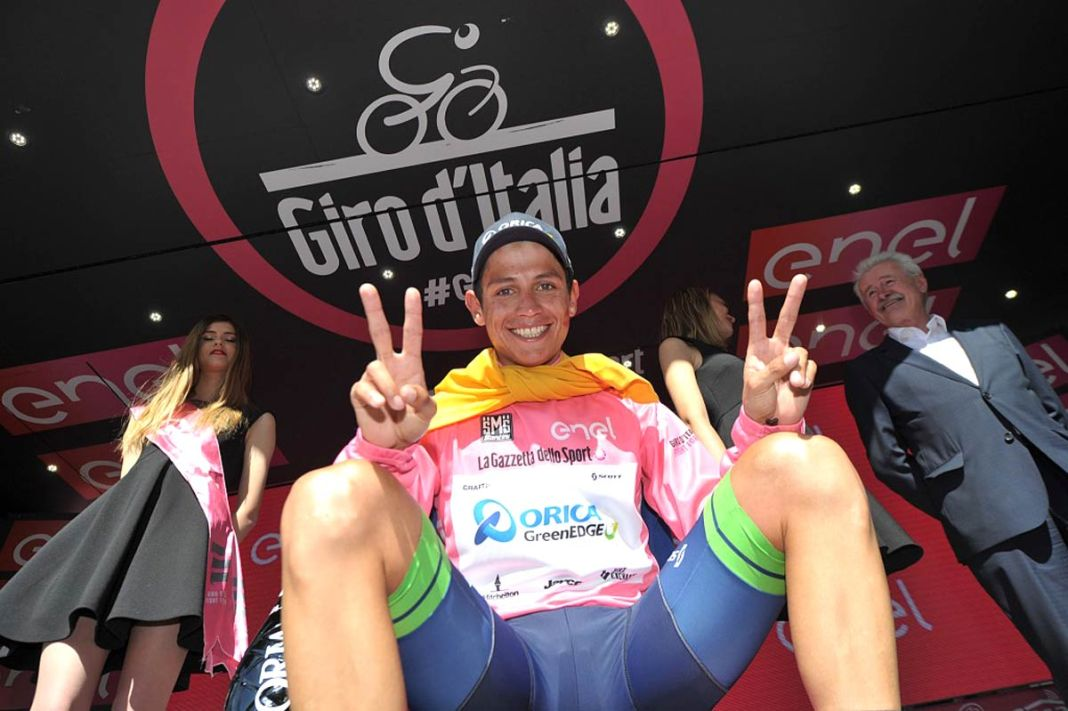 Colombia's Esteban Chaves smiles after taking the lead in the Giro d'Italia on Friday. Chaves finished the race in second place on Sunday.
