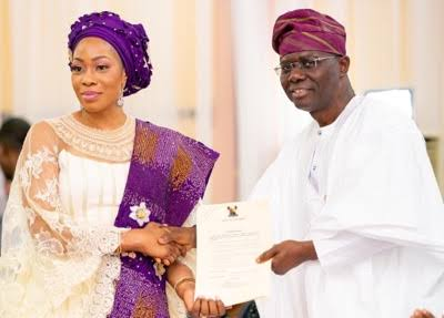 Hon. Adebolu and Gov. Babajide Sanwo-Olu during her Inauguration as commissioner