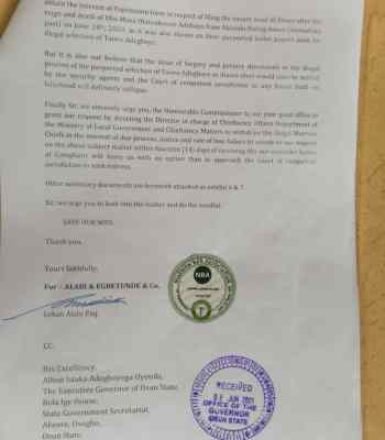 Exposed!!! Osun: Taiwo Adegboye In Forgery Scandal Over Alawo's Stool - Human Rights Lawyer (Documents Attached)