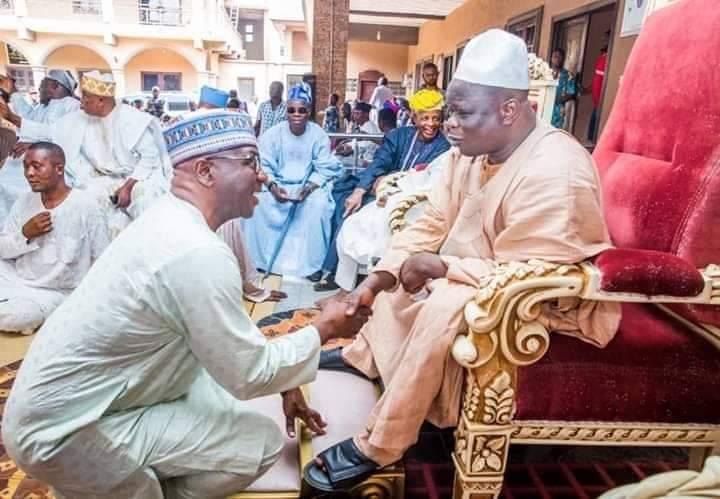 Kwara Gov. AbdulRahman AbdulRazaq greets Olofa of Offa at 58