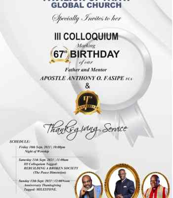 Colloquium: Pavilion of Faith Global Church To Hold 2-in-1 Event To Honour Apostle Fasipe