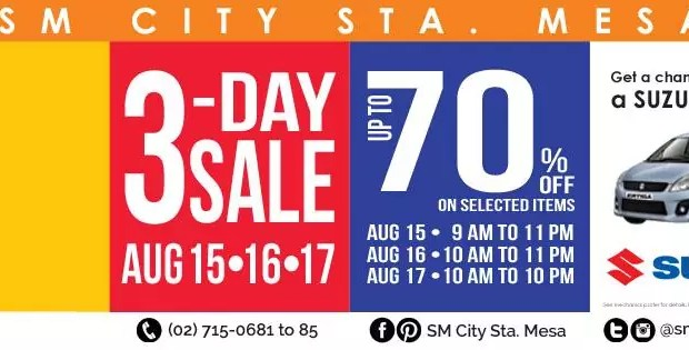 3-Day Sale at SM City Sta Mesa on Aug 15-17