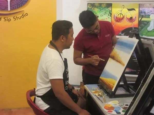 A painting session at Sip and Gogh