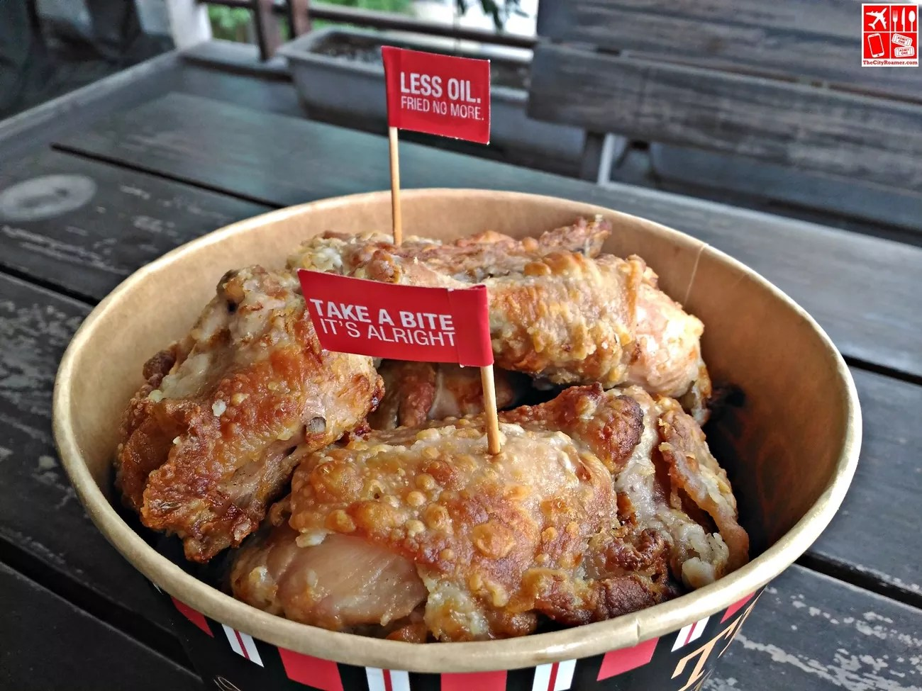 Kenny Rogers OMG Unfried Fried Chicken in a bucket