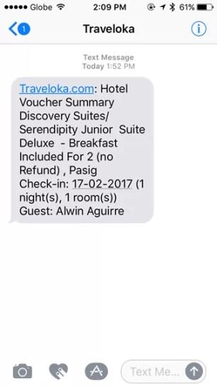 Booking Details Sent via SMS