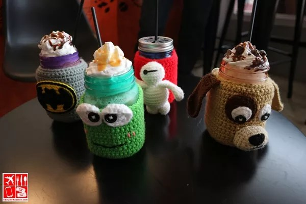 Smoothies and Frappes in Mason Jars with characters