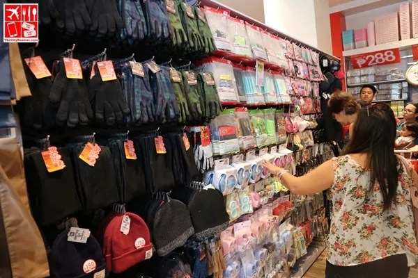 Clothing Items and accessories sold at Daiso Japan store