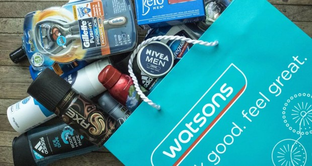 Shopping bag full of men's grooming products from Watsons Store
