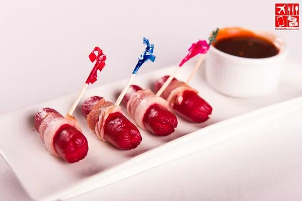 Bacon-wrapped Cocktail Hotdogs w BBQ Sauce