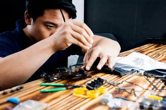 a hobbyist working on a model
