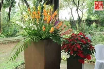 Flowering plants and flower arrangements on display at the Hortikultura Filipina 2018 presscon