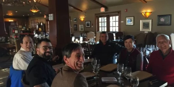 Chef Anton Amoncio with Carlos Munda and culinary experts at Bow Valley Ranche Restaurant
