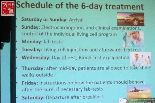 Schedule of the 6-day Fresh Cell Therapy Treatment at D Siegfried Block GmbH