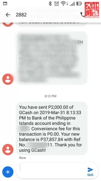 Deposit money to BPI: SMS Notification confirming successful transaction