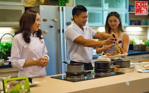 Celebrity couple Iya Villania and Drew Arellano assisting Chef Yen in the kitchen of Home Foodie Season 5