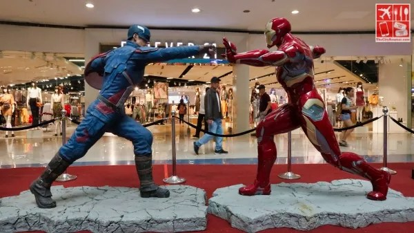 A life-sized Captain America and Iron Man
