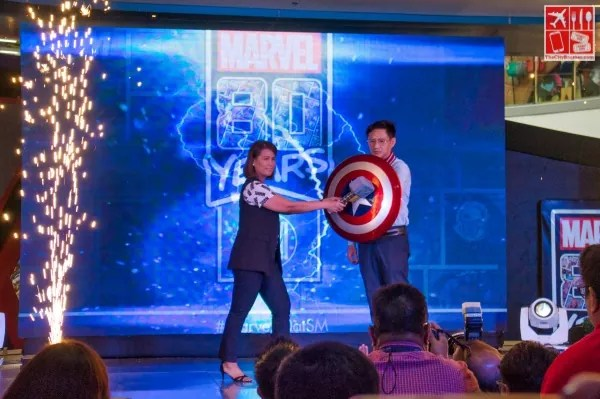 Director for Disney Consumer Products Philippines Yaracel Macalindog and SM Supermalls COO Steven Tan officially opens the Marvel 80 Years at SM Exhibit