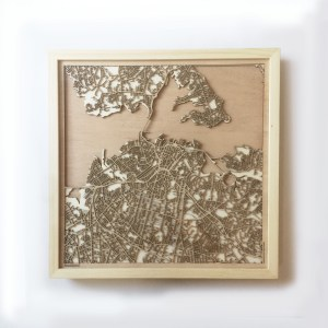 Auckland CityWood Minimal Wooden map wood laser cut maps https://thecitywood.com/ CityWood is a wooden map artwork. City streets, water CityWood - Laser Cut Wooden Maps - Award Wining Design by architect and designer Hubert Roguski