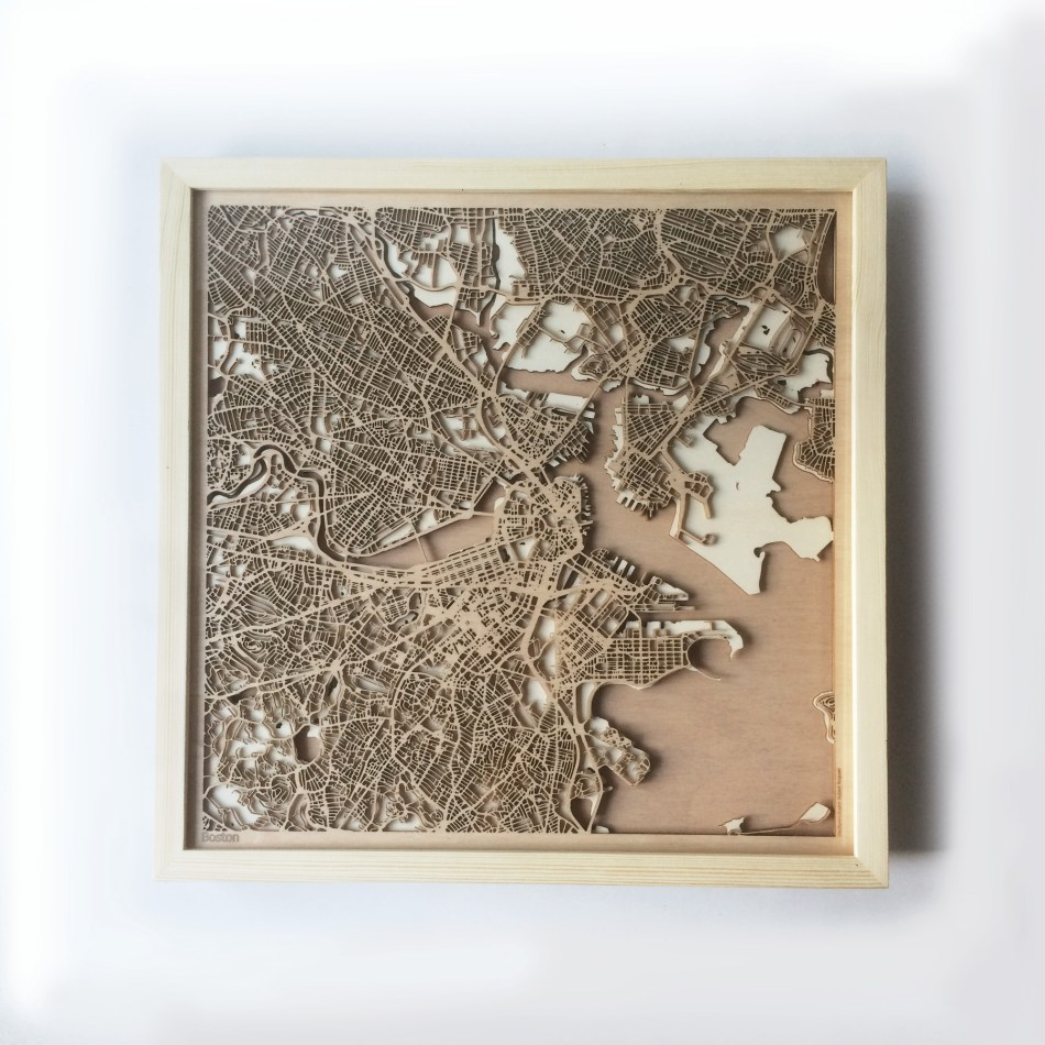 Boston CityWood Minimal Wooden map wood laser cut maps https://thecitywood.com/ CityWood is a wooden map artwork. City streets, water CityWood - Laser Cut Wooden Maps - Award Wining Design by architect and designer Hubert Roguski