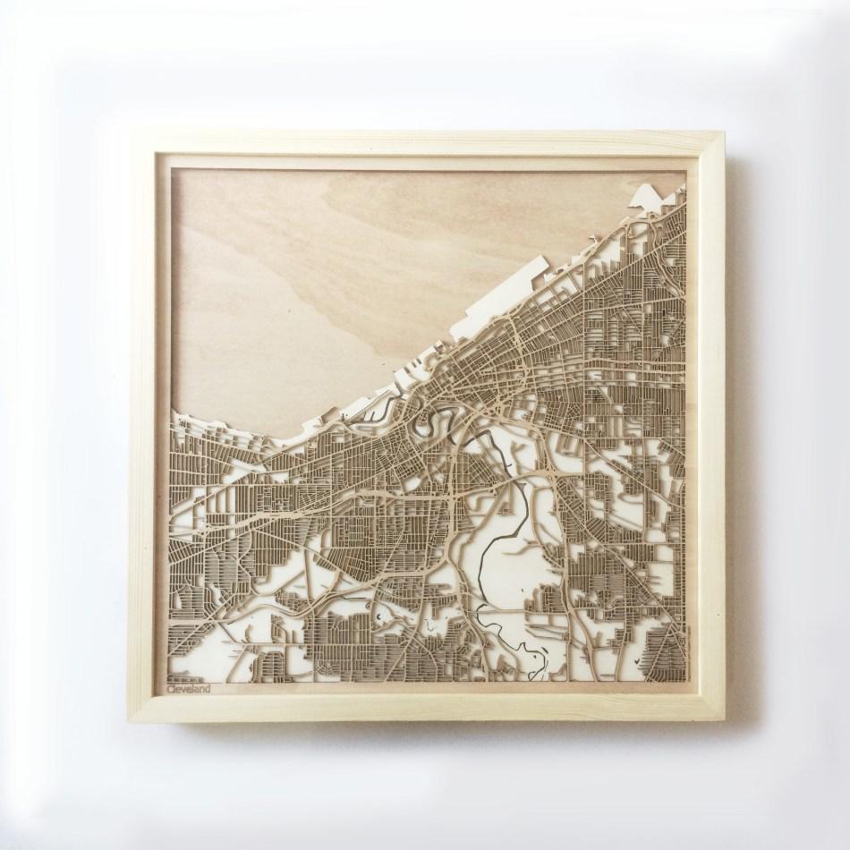 Cleveland CityWood Minimal Wooden map wood laser cut maps https://thecitywood.com/ CityWood is a wooden map artwork. City streets, water CityWood - Laser Cut Wooden Maps - Award Wining Design by architect and designer Hubert Roguski